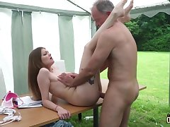 Youthfull nubile entices and tears up elderly fellow then facial cumshot pop-shot