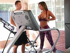 Young beautiful mom Reena Feel does X exercises plus seduces trainer Danny Mountain