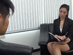Asian MILF gets her pussy fucked hard in the office increased by loves levelly