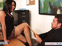 Slutty chartered accountant Rachel Starr seduces young together with handsome hotshot Johnny Citadel