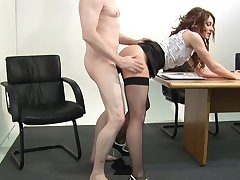 Appealing office MILF fucked clothed by the side be beneficial to the desk