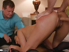 Pristine cuckold home porn for the thin stepdaughter