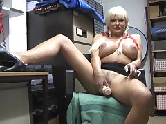 Big boobs matured Karen Kay opens her legs to play in the air a dildo