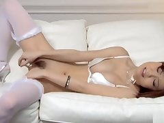 Sexy Nao in white lingerie fondles her breast