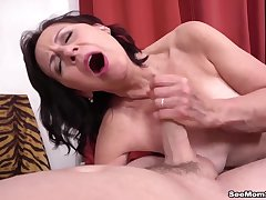 Mom Danina catches  guy unsustained not present and gives him a blowjob