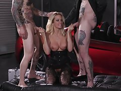 Hungry MILF shared in rough threesome DP