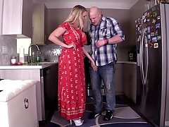 Curvy model Joslyn Jane enjoys having sex in the kitchen. HD