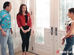 Bisexual wife Chanel Preston fucks young babysitter Nina North right relating to the kitchen
