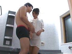 Horny Japanese babe Erika Masuwaka gives head to a lucky dude