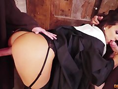 Lascivious big bottomed nun gives nice head and gets brutally mouthfucked