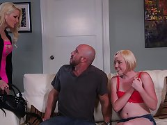FFM threesome with peaches models Helly Mae Hellfire and Miley May