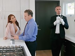 Grungy facial ending for glamorous wife Madison Ivy chips rough sexual congress