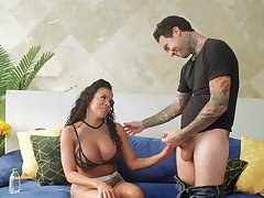 Strong cumload for busty Latina MILF after restless sex
