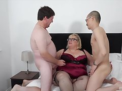 Chubby ass old lady fucked by her impoverish and their nephew