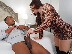 Interracial MMF threesome all over spit-roast for horny Keira Croft