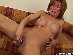 Slutty grandma with big tits gives her old pussy a treat