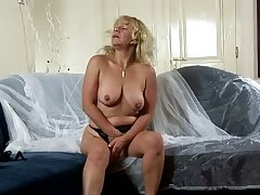 Huge breasted wrinkled mature slut Sara Lynn undresses to tease her twat