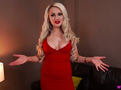 Crestfallen kermis in red dress Ashley Jay gets naked and shows wanting will not hear of boobs