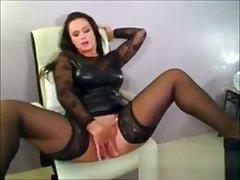 Erotic Brunette Milf Relating to Latex Fingers pussy