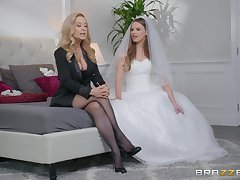 Jillian Janson with an increment of Nina Hartley share groom's cock before the wedding