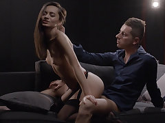 Naughty dark-haired babe gets her nuisance filled
