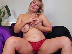 Buxom fat dominate mature lay MILF Danielle strips at home