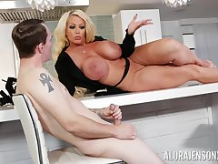 Curvy MILF whore Alura Jenson masturbates in front of a younger guy