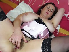 Janey has huge tits coupled with she masturbates while playing with them