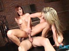 Courtney Cummz and Lexi Lamour trio with big pierced cock dude